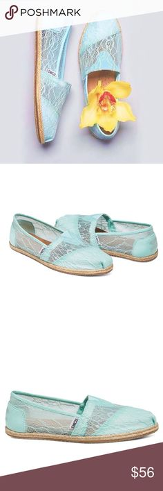 TOMS Lace Rope Esparadilles Wedding Collection Super romantic vibes with gorg lace. Brides!Perfff for your wedding day- part of Toms Wedding Collection. also great for everyday. Super comfy & effortless fit. color is Light Blue Lace Rope (looks light blue with a tad bit of green to me). New in box. *will upload actual pic. Toms Shoes