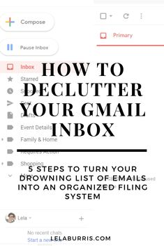These 5 steps will help you turn your drowning list of emails into an organized filing system. Learn how to organize Gmail inbox clutter in no time at all. Gmail Hacks, Computer Help, Computer Tips, Business Organization, Organizing Life, Life Organization, Declutter, Organize, Writing Words