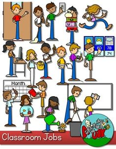 CLASSROOM JOBS CLIPART Included is a set of 38 Clipart files. 19 color and 19 black lined The actual images are: - Attendance - Board Eraser - Calendar Monitor - Computer Tech - Door Holder - House Keeper - Librarian - Light Monitor - Lunch Helper - Messenger
