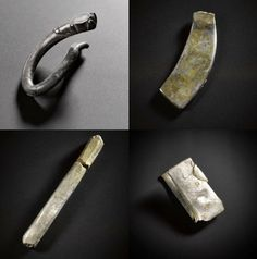 Silver objects from the Aberdeenshire hoard, from left to right, top to bottom: fragment of a zoomorphic silver brooch, an undecorated brooch, silver ingot, and a folded bracelet. Image credit: © National Museum Scotland.