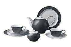 """Tea-Arrangement, Shape """"Paris"""", Grey glaze, platinum decoration, H 0 cm"""