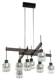 Anonymous; Brushed Steel, Enameled Metal, Rosewood and Glass Ceiling Light by Stilnovo, 1960s.