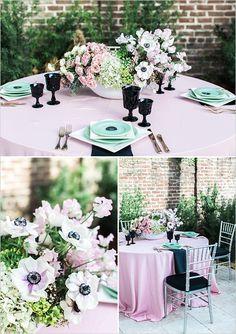 pink teal and black table decor @weddingchicks