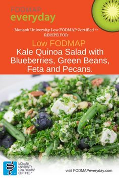 We eat kale salads all year long. If you aren't yet converted, try this: Monash University Low FODMAP Certified Recipe™ for Kale Quinoa Salad with Blueberries, Green Beans, Feta and Pecans.