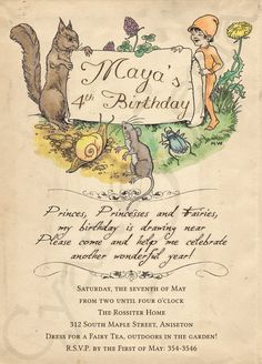 Printable Birthday Invitation - 5 x 7 - Woodland Fairy Tale Animals - Storybook, Vintage, Book, Forest, Mouse, Squirrel. $18.00, via Etsy.