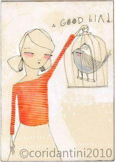 bird in a cage art print - a GOOD bird -  archival and limited edition print by cori dantini