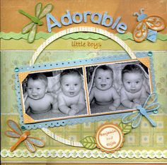 Adorable Little Boys Scrapbook Page great idea for twin photos