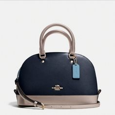 """Mini Sierra Satchel in Colorblock Leather This beauty features Crossgrain leather Inside zip and multifunction pockets Zip-top closure, fabric lining Handles with 3 1/2"""" drop Longer strap with 21 1/2"""" for shoulder or crossbody wear! Bouquet of roses or a Coach bag? """"A Coach bag, because a bouquet dies and Coach is timeless."""" -Chloe Grace Moretz BRAND NEW Straight from its plastic. INCLUDES BOX AND CARE INSTRUCTIONS. MY PHOTOS TO FOLLOW Coach Bags"""