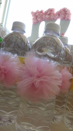 Girls baby shower. TuTu water bottles,