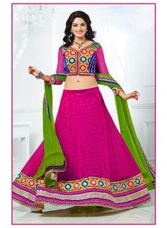 Sparkling Pink Color Net Based #Lehenga Choli #bridallehengas #ethnicwear #womenapparel #womendresses