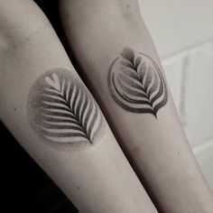 Contrast Leaf Tattoos on Shins