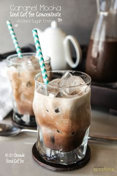 Iced Caramel Mocha Recipe -- sweetened with dates, not refined sugar. An energy boost without the crash. Customize with your favorite milk- but coconut milk is amazing in this!