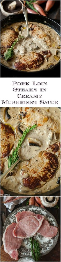 Juicy pork loin steaks in luscious shallot and mushroom sauce that are ready in 15 minutes! Juicy pork loin steaks in luscious shallot and mushroom sauce that are ready in 15 minutes! Pork Recipes, Cooking Recipes, Pork Loin Steak Recipes, Pork Steaks, Good Food, Yummy Food, Tasty, Def Not, Mushroom Sauce
