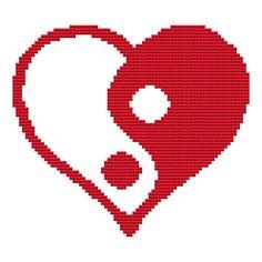 Cross Stitch Kit 'Ying Yang Heart'  Custom Made by FredSpools, $14.00 Asia