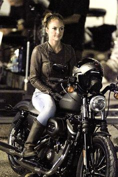 Minka Kelly Sexy on a Motorcycle Filming Charlies Angels