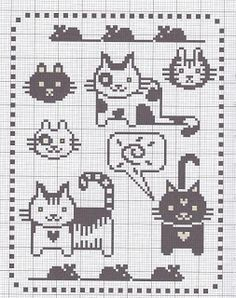 Cute cats for cross-stitch or knitting chart. get some yourself some pawtastic adorable cat apparel! Chat Crochet, Crochet Cross, Crochet Chart, Knitting Charts, Knitting Stitches, Cross Stitch Charts, Cross Stitch Patterns, Cross Stitching, Cross Stitch Embroidery