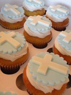 first communion topper cake & cupcakes