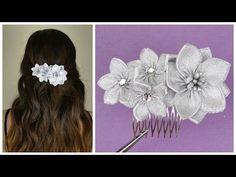 DIY Ribbon flower I Wedding hair comb I Kanzashi flower tutorial - YouTube
