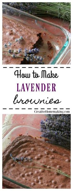 Easy recipe for making lavender brownies. One of my favorite ways to bake with dried lavender! Just Desserts, Delicious Desserts, Dessert Recipes, Yummy Food, Tasty, Lavender Recipes, Lavender Ideas, Culinary Lavender, Brownies