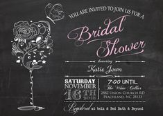 Vintage Chalkboard Wine & Butterfly Bridal Shower Printable Invitation on Etsy, $12.00