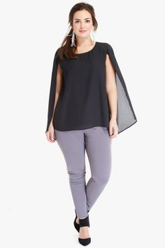 Plus Size Aberdeen Cape Top | Fashion To Figure $32.90