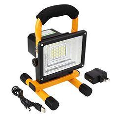 Stoog LED Projecteur 30 W 48 LED Fonction Batterie Portable Lampe de Chantier de travail, Equivalent à Ampoule Halogène 200W 6000K…