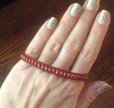 Red brushed metallic bohemian wrap bracelet with czech by techGLAM