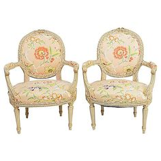 French Fauteiul Armchairs - Set of 2 - House of Charm Antiques French Dining Chairs, Bergere Chair, French Vintage, Armchairs, Furniture, Design, Home Decor, Art, Products