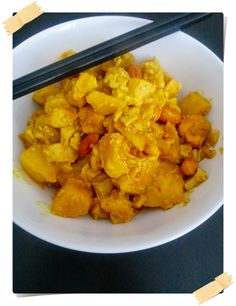 curry with chicken and tofu - Curry mit Hühnchen und Tofu