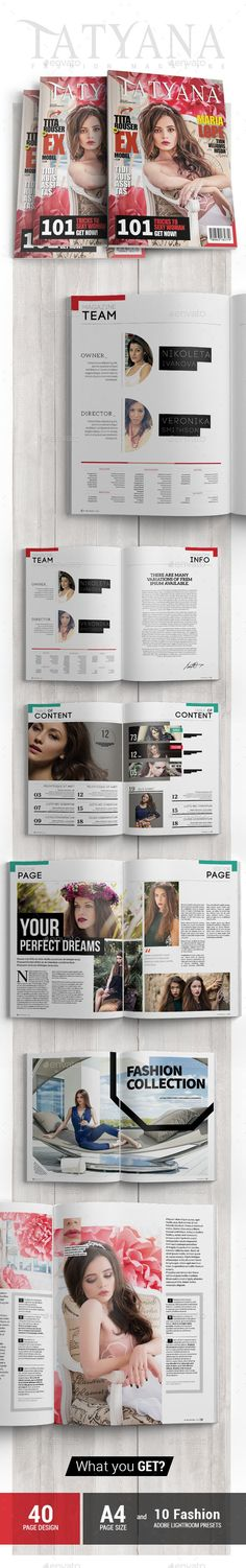 Tatyana  Fashion Magazine Issue 5  — InDesign Template #moda #mag • Download ➝ https://graphicriver.net/item/tatyana-fashion-magazine-issue-5/18298345?ref=pxcr