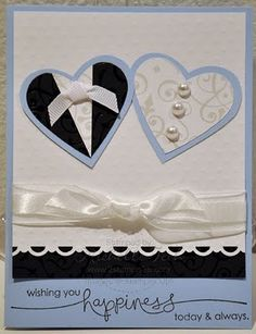 Cute tux and dress hearts wedding card