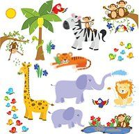 Jungle Friends Wall Decals - Fun Animals for Kids Rooms and Nursery - Easy Peel Stickers