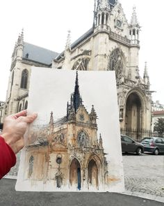 Church of Saint-Bernard de la Chapelle, Paris, by the architect student and urbansketcher Juan Carlos Figuera ( Watercolor Architecture, Architecture Drawings, Building Architecture, Watercolor Sketch, Watercolor Illustration, Watercolor Paintings, Watercolor Food, Watercolors, Art Sketches