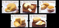 Stamps of Portuguese Cheeses, Queijos Portugueses: Serra da Estrela, Rabaçal, Azeitão, Sao Jorge, Transmontano