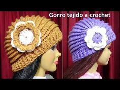 Gorro tejido a crochet con Flor paso a paso con puntos Relieve TODAS LAS TALLAS - YouTube