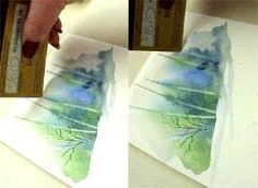 Watercolor Techniques for Painting Birch Trees with Credit Card.