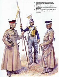 Russian Cavalry, Crimean War, L to R Sub Lieutenant Tsarivitch's(1st) Moscow Dragoons), Lancer Reserve Squadron 7th Vosnesenski Ulhans & Major Reserve Squadron 10th Odessa Ulhans, both part of the 2nd Composite Regiment, Balaclava.