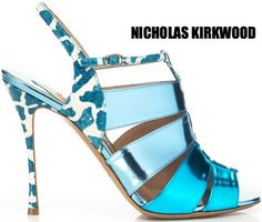 Shop Nicholas Kirkwood for Prabal Gurung Red Sky Print Bootie. Designed by Nicholas Kirkwood exclusively for Prabal Gurung, this two-tone open toe bootie features wavy straps and a buckle closure Leather insole Leather sole Suede Made in Metallic Sandals, Aqua Heels, Blue Shoes, Nicholas Kirkwood, Pretty Shoes, Beautiful Shoes, Shoe Boots, Shoes Heels, Shoes