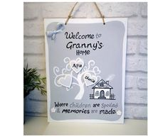 Personalised Gift for Granny.Family Tree with Grandchildren's/Family Names Personalized Plaques, Family Names, School Signs, Hand Painted Signs, Messages, Day, Handmade Gifts, Kid Craft Gifts, Craft Gifts