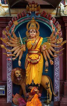 Navratri Puja will help you overcome all your negativities. Flourish with wealth on this Navratri by offering Homam to Lakshmi, Saraswathi & Durga. Mother Goddess, Goddess Lakshmi, Divine Goddess, Navratri Puja, Durga Ji, Durga Images, Lord Shiva Family, Shiva Shakti, Hindu Deities
