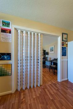 One of the most interesting principle behind accordion doors is that they are seldom made use of as actual entryways as well as exits. Most of the time, these folding barriers are made . Read Best Accordion Doors Ideas for Your House Room Divider Doors, Diy Room Divider, Room Divider Curtain, Divider Ideas, Interior Door, Interior Design Living Room, Accordion Folding Doors, Diy Folding Doors, Accordion Doors Closet