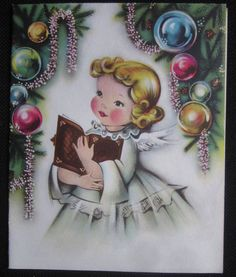 Vintage Christmas Greeting Card Pretty Angel Mid Century Norcross