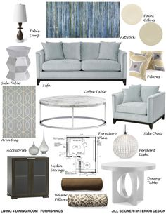Living Room Furnishings Concept Board.