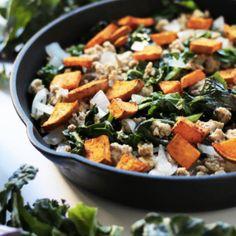 Spicy Sweet Potato, Turkey & Kale Bowl http://joliverwellness.com/recipes/sweetpotatoturkeybowl