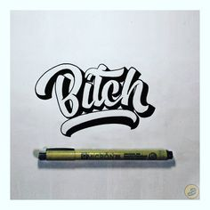 """40 Suka, 2 Komentar - Arif Adi Nugroho (@boan_567) di Instagram: """"#bitch . . . . . . . . #handlettering #lettering #art #draw #goodtypetuesday #typism #50word #type…"""" Easy Graffiti Drawings, Word Drawings, Graffiti Designs, Calligraphy Tattoo Fonts, Calligraphy Words, How To Write Calligraphy, Scrapbook Letters, Scrapbook Quotes, Chest Tattoo Words"""