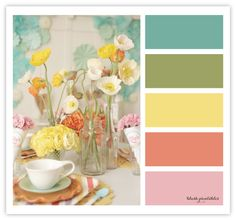 Color palette - We were blessed with a few gorgeous spring-like days, and now it's back to being cold and dreary outside. I thought I'd help brighten your day by sharing this dreamy color palette of muted blue, green, yellow and a hint of coral and pink. Green Color Schemes, Color Combos, Green Colors, Colours, Blue Green, Pink Yellow, Pink Color, Yellow Shades, Green Style