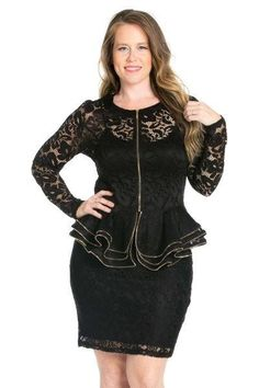 Ladies' Black Plus Size Long Sleeve Lace Top with Layered Peplum  #shoppingonline #instalikes #kidsclothes #shoppingday #canadaonline #fashionista #onlinestore #fashion #shopping #fashionstyle