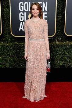 The best red carpet fashion and best dressed celebrities from the Golden Globes 2019 hosted by Sandra Oh and Andy Samberg. Best Celebrity Dresses, Celebrity Red Carpet, Celebrity Style, Golden Globe Award, Golden Globes, Camila Belle, Actress Emma Stone, Nice Dresses, Formal Dresses