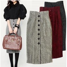 Automne et hiver tweed jupe single-breasted taille haute sac hanche jupe é Cheap Skirts, Skirts For Sale, Chic Outfits, Fashion Outfits, White Ball Gowns, Long Skirts For Women, Tweed Skirt, Winter Skirt, England Fashion