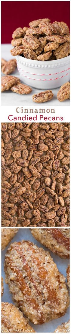 Cinnamon Candied Pecans - these are one of my favorite fall treats and they are so easy to make! (It is just not Christmas without Cinnamon Candied Pecans and other pecan treats) Cinnamon Sugar Pecans, Cinnamon Candy, Candied Pecans, Almonds, Cinnamon Roasted Pecans, Yummy Treats, Sweet Treats, Yummy Food, Holiday Baking